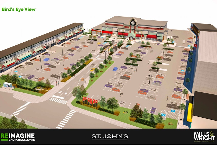 A rendering of a potential redesign for Churchill Square in St. John's was released March 11, and the city is seeking public feedback on it.