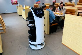 Pudu Robotics launched its BellaBot delivery robot last year. Sushi Island has one at each of its two locations in St. John's.  — Andrew Robinson/The Telegram
