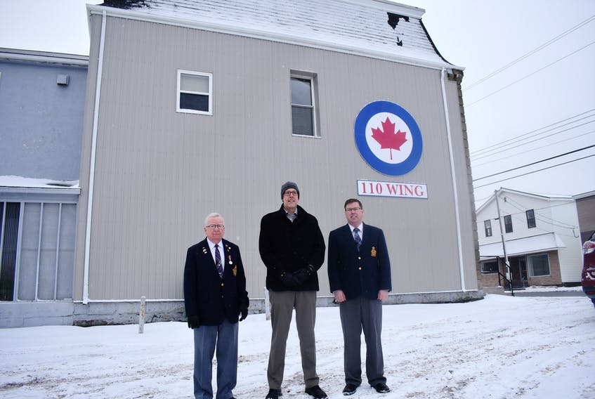 The RCAF Association 110 Northumberland Wing has had some work done to its building. From left, J.C. Clark, membership chair; Stellarton Mayor Danny MacGillivray and Brian MacIntosh, board chair. ADAM MACINNIS/THE NEWS