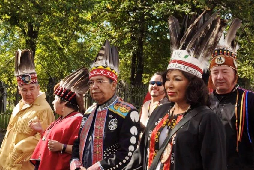 Stephen Augustine (centre) with the Mi'kmaw chiefs of Nova Scotia on Treaty Day 2018. Augustine is the first Indigenous member of the Nova Scotia Health Authority board of directors.