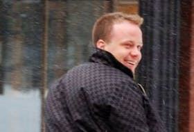 ['Steven Green leaves provincial court after pleading guilty to dangerous driving last year in an incident captured on video of him spinning out of control in his Porsche in the capital city.']