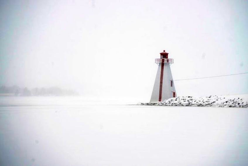 The range light at Victoria Park during lightly falling snow Monday.