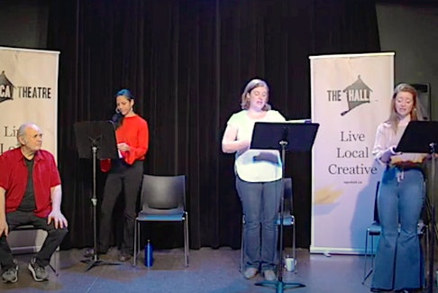 The latest edition of Live Magazine! featured a slew of local talent — (from left) Andy Jones, Vanessa Cardoso Whelan, Monica Walsh and Allison Kelly — bringing sketch comedy from the LSPU Hall to your own living room. —  YouTube Screenshot