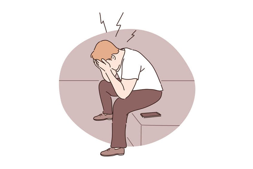 stressed man with phone stock illustration