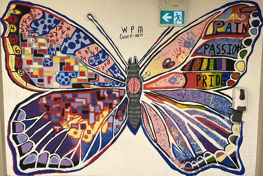 This painting on a wall at Whitney Pier Middle School is The Butterfly Project, done by students under the guidance of artist Ryan Robson with the SchoolsPlus program at the Cape Breton-Victoria Regional Centre for Education. The Butterfly Project was about creating an inclusive environment within school and the painting celebrated diversity among the students. CONTRIBUTED