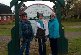 Thelma Handy (left), Leona Gaudet and Patsy Hughes, having reached Miscouche.