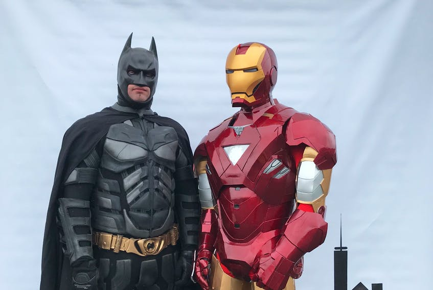 RNC Sgt. Jim Lynch (Batman) and his brother, Mike Lynch, (Iron Man) enjoyed visiting Ronald McDonald House in St. John's to lift the spirits of families with children in hospital as part of the Heroes for Heroes campaign. The COVID-19 pandemic has prevented their visits this year, but their fundraising crusade continues. — CONTRIBUTED
