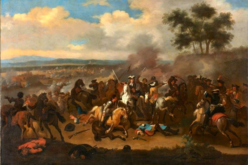 Battle of the Boyne between James II and William III, 12 July 1690, by Jan van Huchtenburg. - Contributed