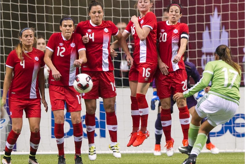 Canada's Shelina Zadorsky, Christine Sinclair, Melissa Tancredi, Janine Beckie and form a wall to block a free kick from a Mexican player. - Gerry Kahrmann / Postmedia