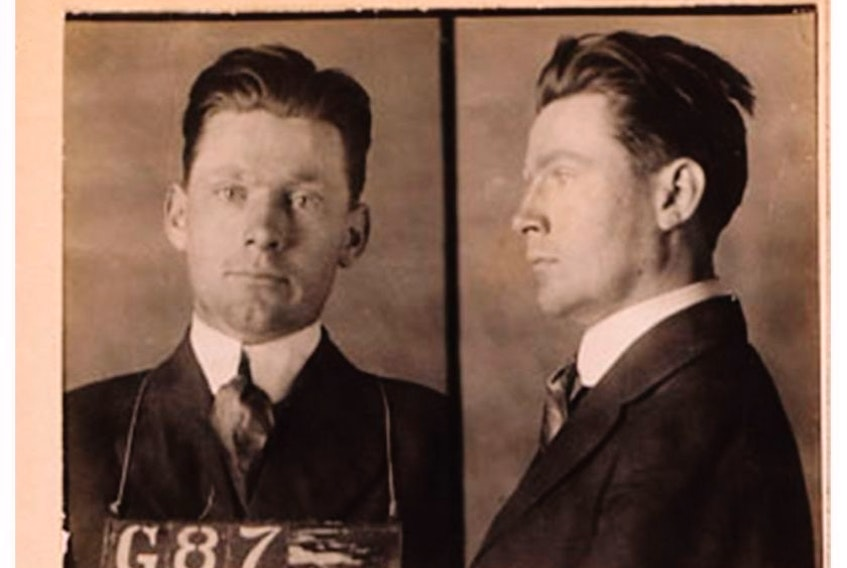 A mug shot of Norman Red Ryan from Jim Brown's The Golden Boy of Crime: The Almost Certainly True Story of Norman Red Ryan. Courtesy, Random House.