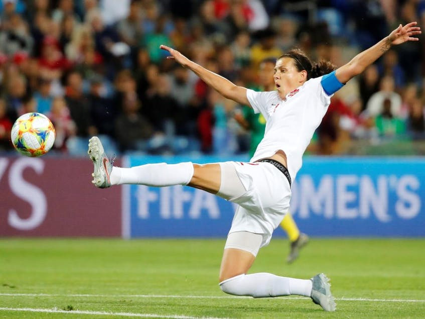 Canada's Christine Sinclair reaches for a ball against Cameroon at the 2019 FIFA Women's World Cup at the Stade de La Mosson in Montpellier, France on June 10, 2019. - Jean-Paul  Pelissier