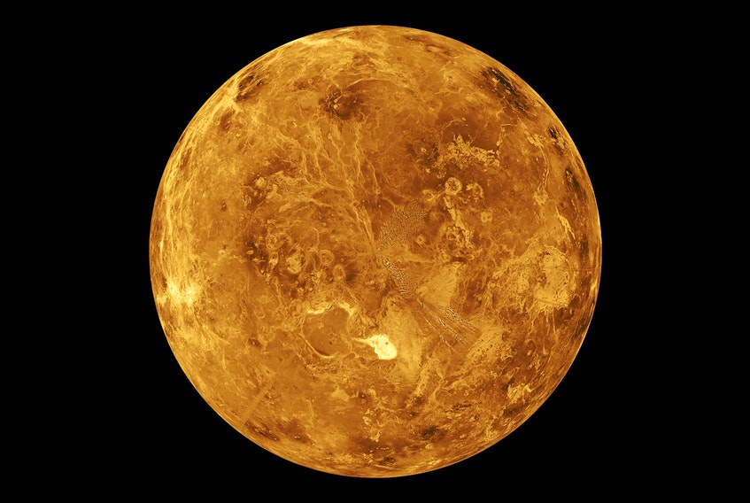 The northern hemisphere is displayed in this computer-simulated global view of the surface of Venus as seen by NASA Magellan spacecraft.