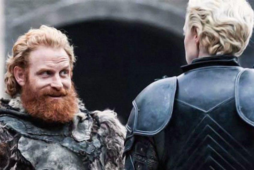 Tormund Giantsbane (actor Kristofer Hivju) has had an eye for Brienne of Tarth (Gwendoline Christie) since their first meeting. — HBO