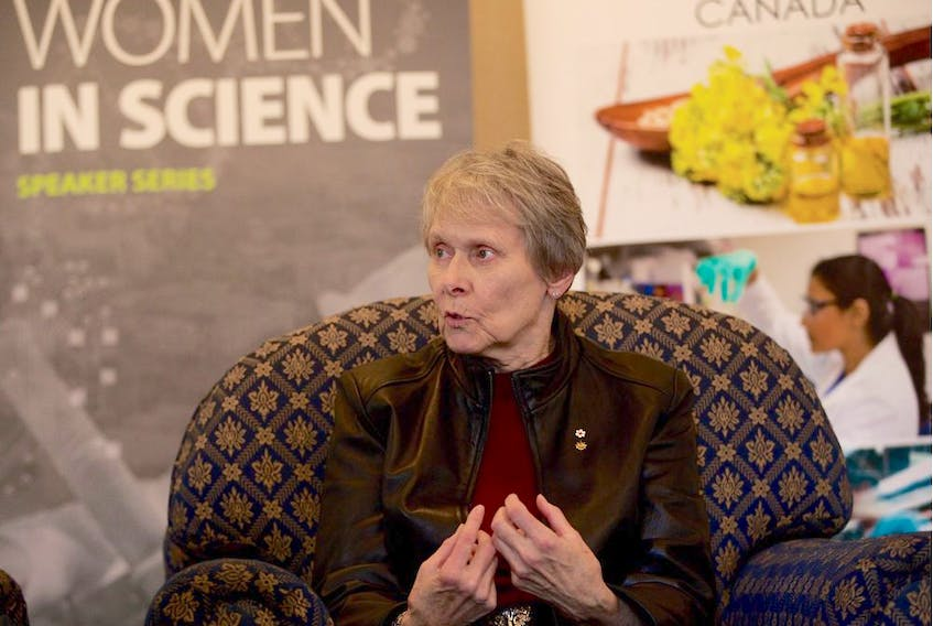 Roberta Bondar, Canada's first female astronaut and acclaimed neurologist, is interviewed at the Delta Bessborough Hotel in Saskatoon during her visit to the city on March 26, 2019. She spoke about her work and experiences at the University of Saskatchewan on March 26. (Matt Olson/Saskatoon StarPhoenix)