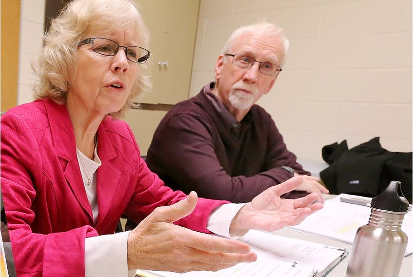 Dr. Margaret Keith, left, and Dr. James Brophy speak to the media about a new study they authored which reveals a toxic enviroment of physical and sexual violence against staff in Ontario hospitals in this file photo from Nov. 30, 2017.