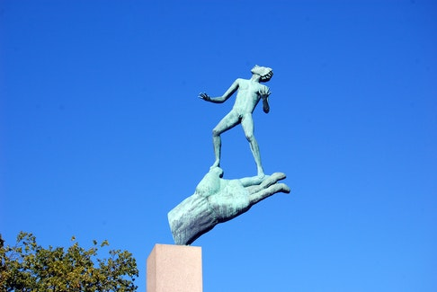 Carl Milles' 'Hand of God' gives insight into the sculptor's belief that creativity is divinely inspired. (Rick Steves)