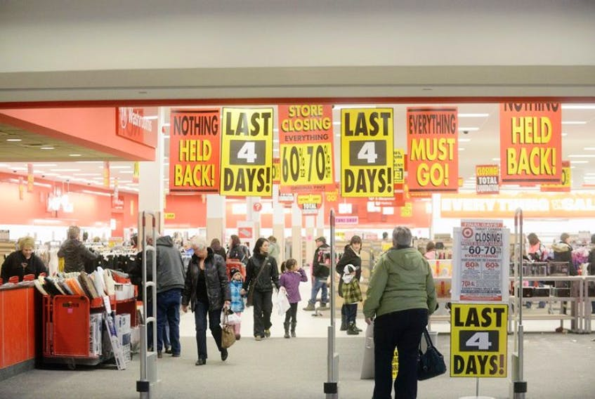 The Target store in Charlottetown was full of bargain hunters Saturday. The store will turwn out the lights Wednesday.