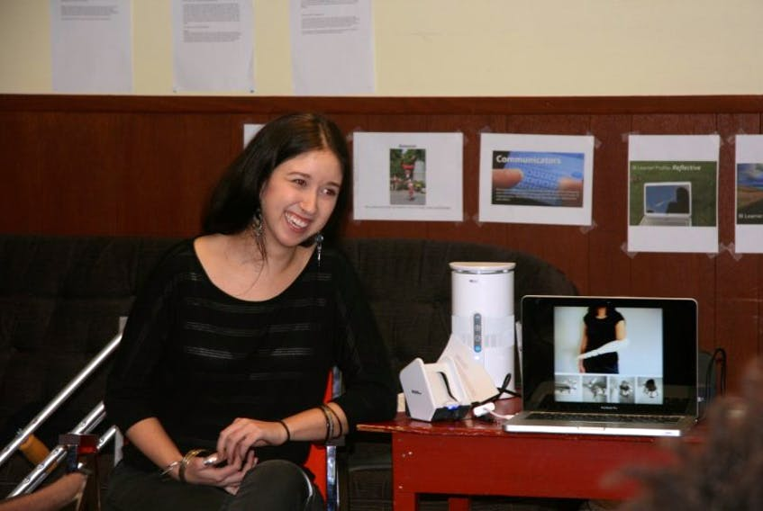 <p>Tasha Hope-Simpson visited the New Booker School in Wolfville recently and talked to the students about the challenges she has faced after losing part of a leg. - Submitted</p>