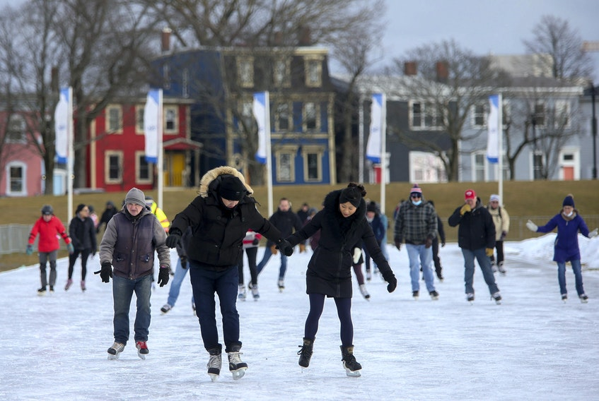 Skaters take part in the noon hour skate at the Halifax Oval on Monday, Jan. 18, 2021. The oval is as popular as ever, with one-hour, pre-booked sessions quickly filling up to the maximum 130 allowable skaters.