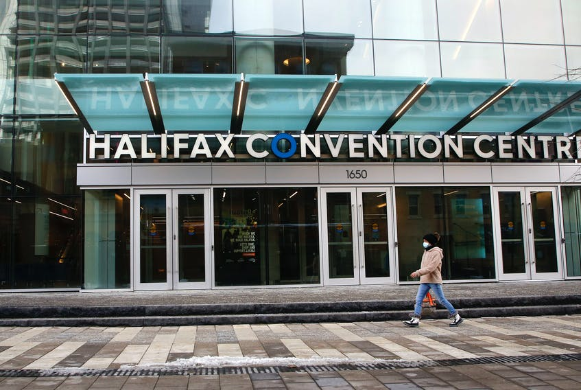 FOR MUNRO STORY:A woman walks past the empty Halifax Convention Centre in Halifax Tuesday January 26, 2021.TIM KROCHAK PHOTO