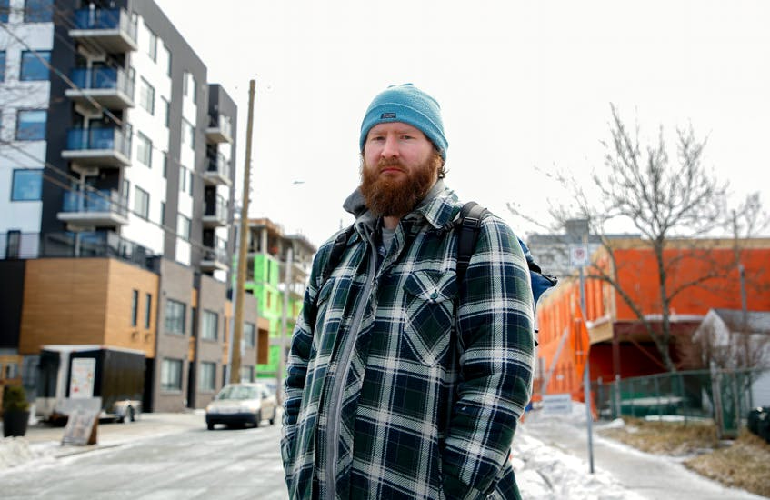 Eric Jonsson, program co-ordinator with Navigator Street Outreach, says there isn't enough room in shelters and hotels for people experiencing homelessness and living in tents or temporary shelters to go. - Tim Krochak / File