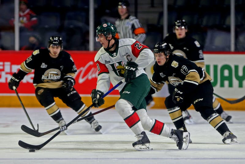 Halifax Mooseheads captain Justin Barron controls the puck in front of Charlottetown Islanders during QMJHL action in Halifax, March 14. - Tim Krochak