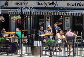 The patio at Durty Nelly's Irish Pub seen in Halifax on Tuesday.