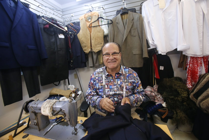 Nick Dimitropoulus, owner and tailor at Vogue Menswear and Tailoring, says he has been letting out a lot of pants as people realize they've put on some pounds during the pandemic.