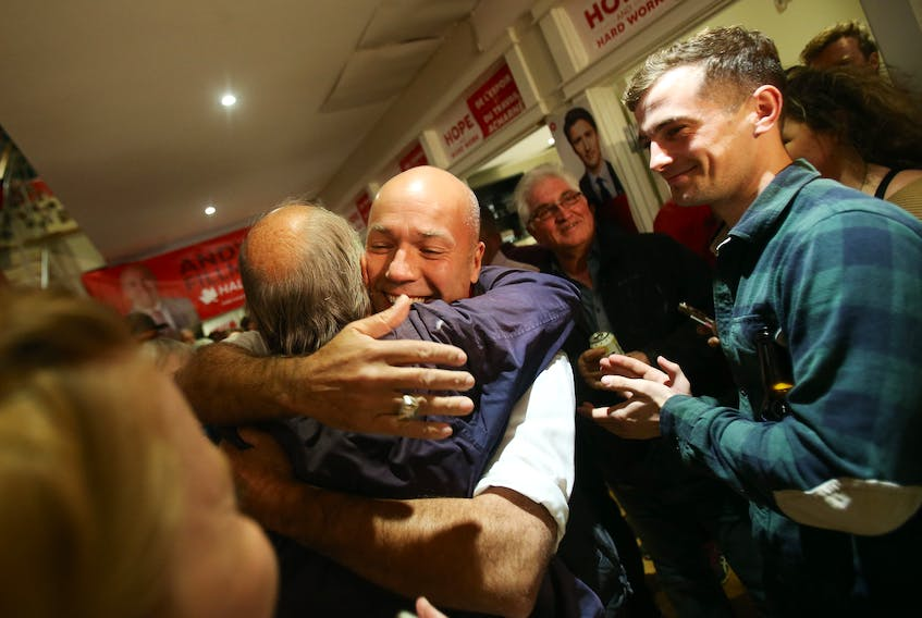 Halifax Liberal MP Andy  Fillmore hugs a supporter after his win in Monday night's federal election.