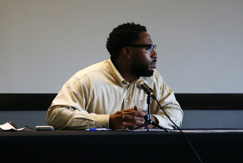 Gyasi Symonds is seen while speaking before a human rights board of inquiry at a Halifax hotel Thursday, Nov. 5, 2020.  Symonds was ticketed for jaywalking near his workplace back in January 2017.