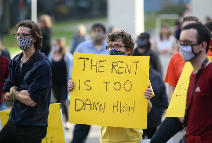 Over 200 people took part in a demonstration in support of rent control, in the Grand Parade in Halifax on Nov. 7, 2020. Nova Scotians have been calling on the government to put something into place as rent prices continue to go up. - Tim Krochak