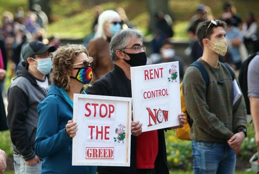 FOR COOKE STORY: Over 200 people took part in a demonstration in support of rent control, in the Grand Parade in Halifax Saturday November 7, 2020.  TIM KROCHAK PHOTO