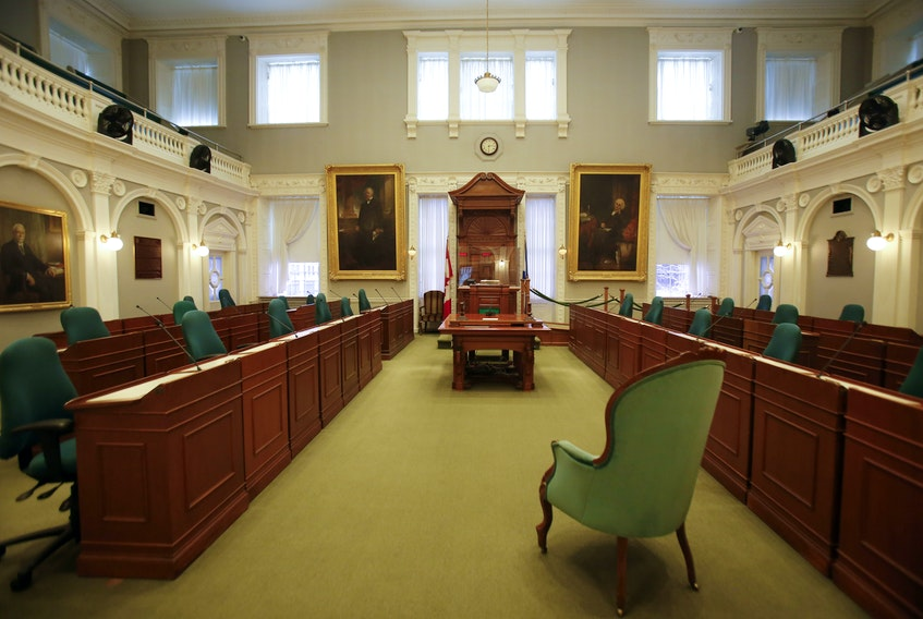FOR NEWS STORY: The legislative chamber is seen at Province House, in Halifax Friday November 13, 2020. Nova Scotia has the distinction of being the only province in Canada with a legislature that has not sat since the COVID pandemic began...last sitting on March 10. It will sit for one day in December but only to discontinue the current session.   TIM KROCHAK PHOTO