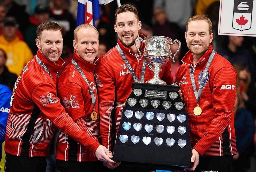 Brad Gushue's rink from St. John's last played with its regular four players when it was victorious in the final of the 2020 Tim Hortons Brier in Kingston, Ont. The team of (from left) Gushue, Mark Nichols, Brett Gallant and Geoff Walker is seeking its fourth Brier Canadian men's curling championship beginning today in Calgary. – Curling Canada photo