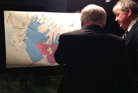Neil Dawe of Tract Consulting looks at a plan offered for comment at a public meeting in Portugal Cove-St. Philip's on Jan. 18.
