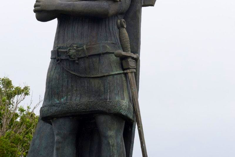 The statue of Gaspar Corte-Real located across from the Confederation Building on Prince Philip Drive.