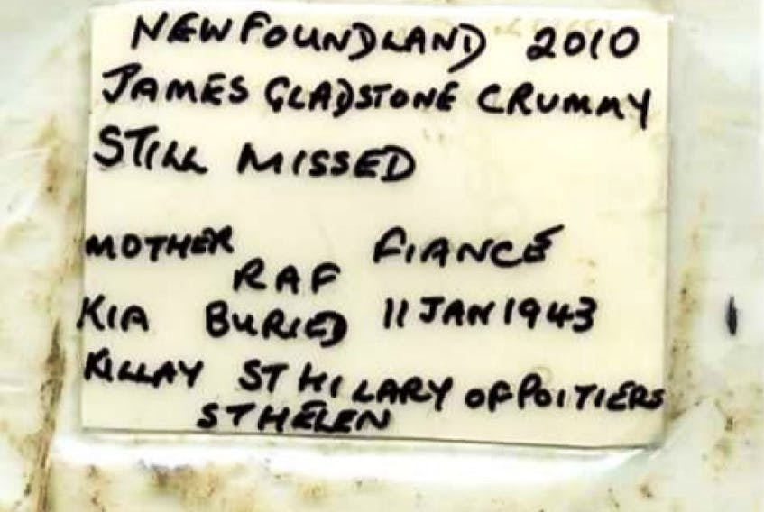"""The letter found by Murray Davies on the gravestone of Newfoundland Second World War soldier James Gladstone Crummey — the gravestone spells his surname as """"Crummy,"""" but Veterans Affairs Canada identifies him as Crummey."""