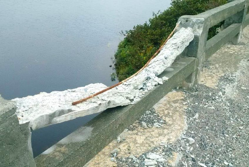 A photo provided to the Opposition Tories shows the crumbling Stoney River Bridge.