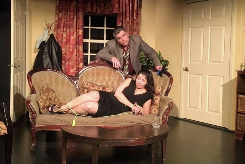 """Anna Stassis and Chris Panting in a scene from """"Sinners,"""" running at the Barbara Barrett Theatre in the Arts and Culture Centre in St. John's until Oct. 7."""