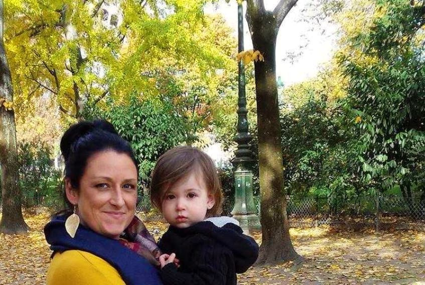 Steff Martin and her daughter, age two months, before her breast cancer diagnosis.