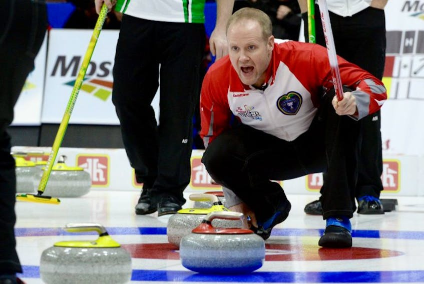 Mark Nichols calls a Brad Gushue stone during Draw 7 match against Saskatchewan at the Tim Hortons Brier 2017 on Monday. Nichols filled in for Gushue when the skip was nursing hip and groin issues earlier in the season but he has no plans of leaving the highly successful rink to start his own.