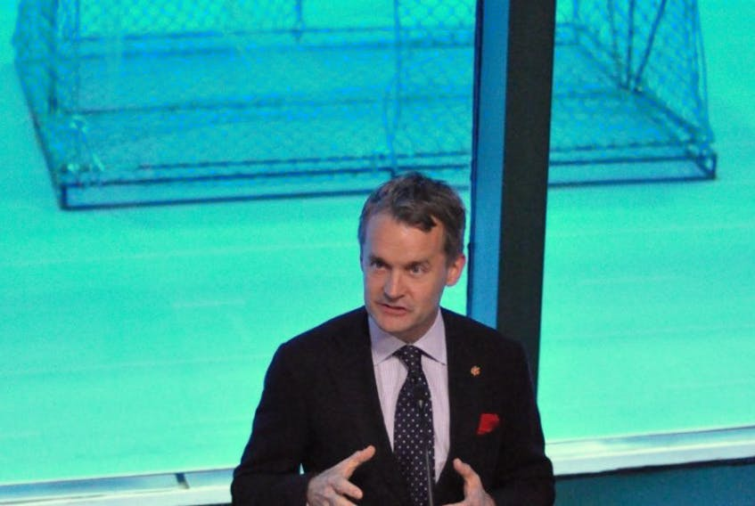 Federal cabinet minister Seamus O'Regan speaks during a news conference announcing Ocean Supercluster as one of nine finalists in the federal government's Innovation Supercluster Initiative, which is aimed at fostering public-private partnerships in industries across the country.