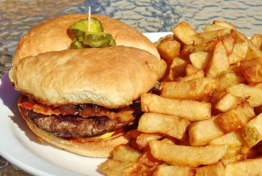 The Landings' burger and fries.