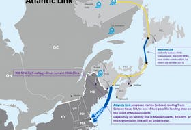 A map shows the route of Emera's planned subsea power link from New Brunswick to Massachusetts.