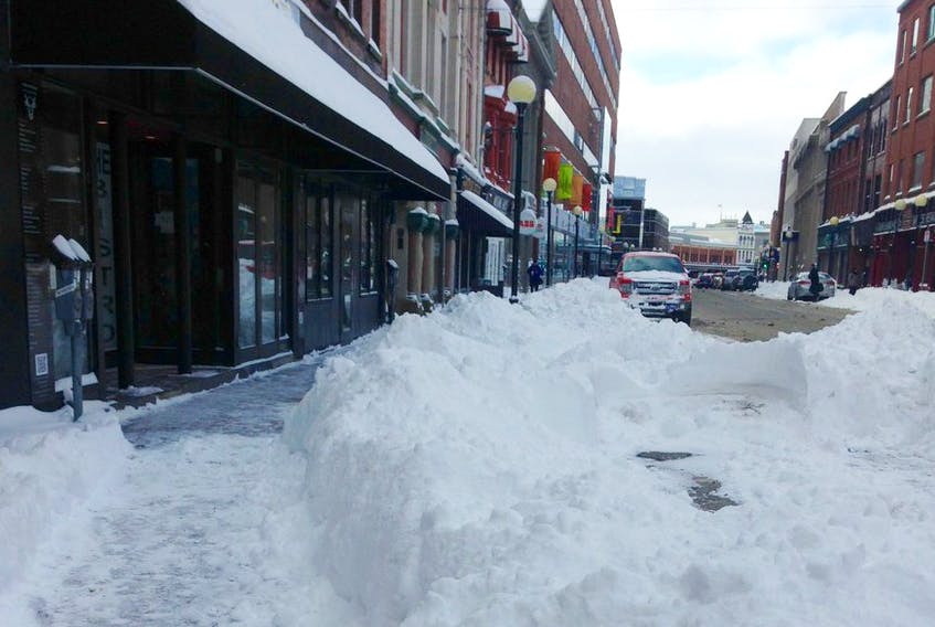 Water Street, downtown St. John's after a heavy snowfall.