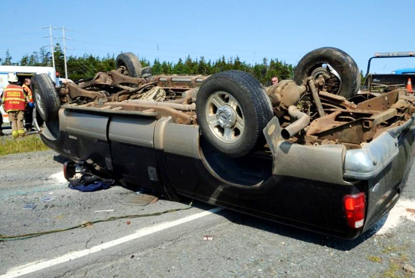 A two-vehicle collision on the Trans-Canada highway near the Donovan's Industrial Park in Mount Pearl sent one person to hospital.