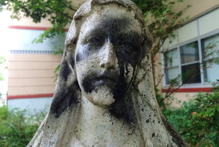 A statue of the Virgin Mary has been defaced on St. Patrick's, Convent Square, St. John's.