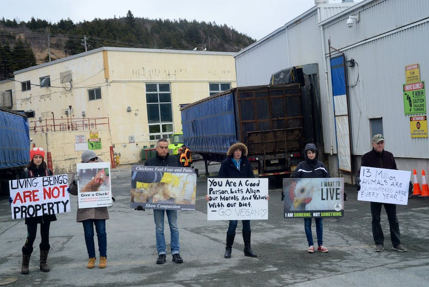 Protesters with Anonymous for the Voiceless set up a blockade against trucks heading into the Country Ribbon processing plant in Pleasantville, St. Johns, in this April 2018 file photo.