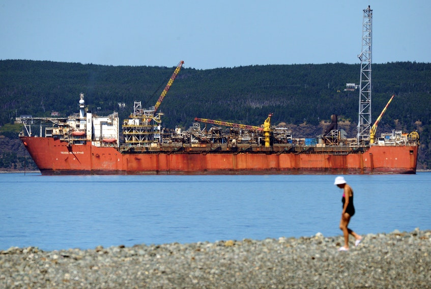 The Terra Nova FPSO sits anchored in Conception Bay near Bell Island Monday afternoon. Suncor moved the FPSO shoreside after a planned upgrade at a drydock facility in Spain was cancelled due to the COVID-19 pandemic.  Keith Gosse/The Telegram