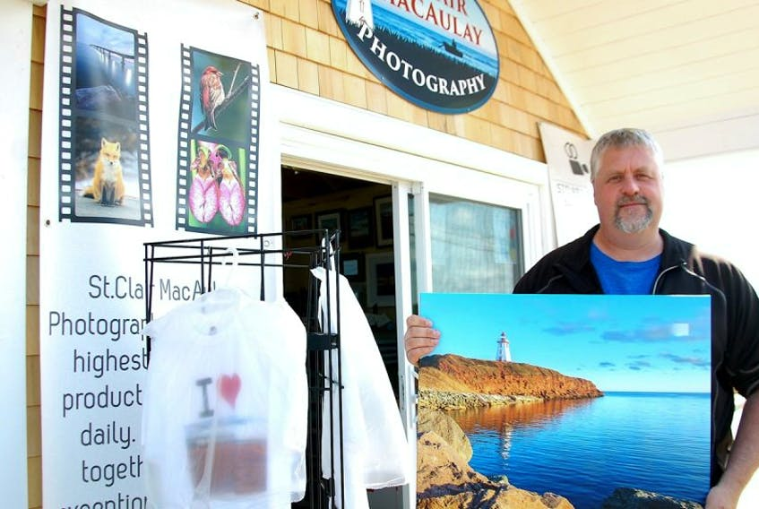 St. Clair MacAulay of Miscouche recently opened a photography gift shop in Souris. He sells small and large canvases showcasing many iconic scenes of P.E.I. in addition to selling his photography prints on mugs, T-shirts and postcards.